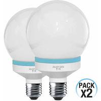 Pack 2 Bombillas CFL Bajo Consumo Globo E27 20W