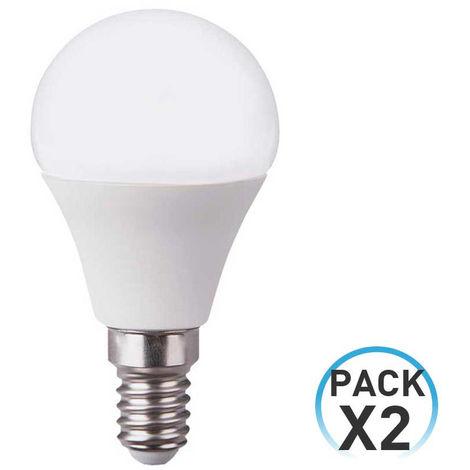 Pack 2 Bombillas LED Esférica E14 6W Equi.40W 470lm 10000H ECO 1Primer Low Cost