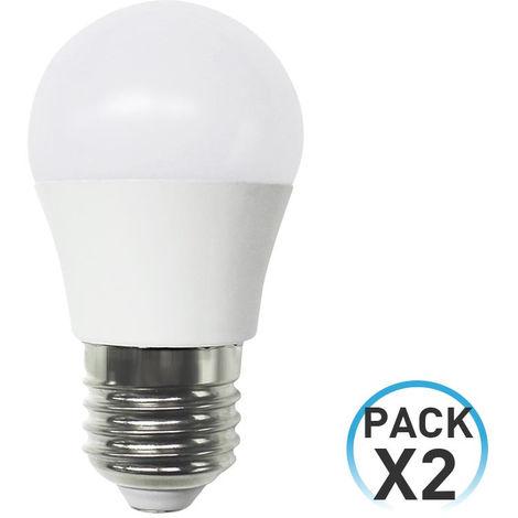Pack 2 Bombillas LED Esférica E27 6W Equi.40W 470lm 6000K 25000H 7hDayron