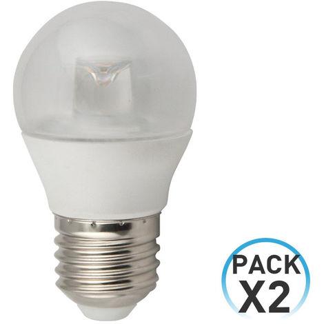 Pack 2 Bombillas LED Esférica E27 6W Equi.40W 470lm Transparente 3000K 25000H 7hSevenOn LED
