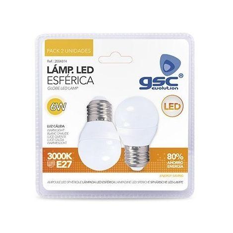 Pack 2 bombillas LED esféricas 6W E27 3000K