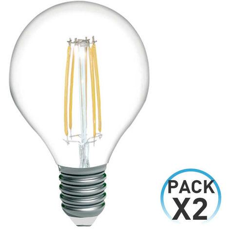 Pack 2 Bombillas LED Filamento Esférica E14 4W Equi.40W 470lm 3000K 15000H 7hSevenOn