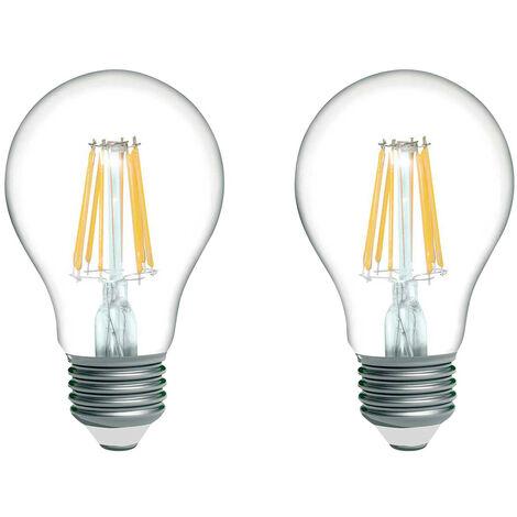 Pack 2 Bombillas LED Filamento Estándar E27 8W Equi.60W 806lm 2700K 15000H 7hSevenOn