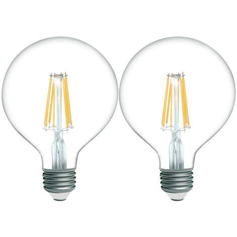 Pack 2 Bombillas LED Filamento Globo E27 8W Equi.60W 806lm 15000H