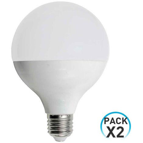 Pack 2 Bombillas LED Globo E27 9W Equi.60W 806lm 3000K 15000H 1Primer Low Cost