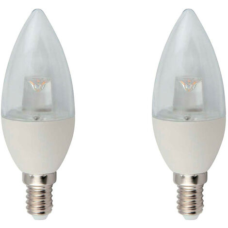 Pack 2 Bombillas LED Vela E14 6W Equi.40W 470lm Transparente 3000K 25000H 7hSevenOn LED