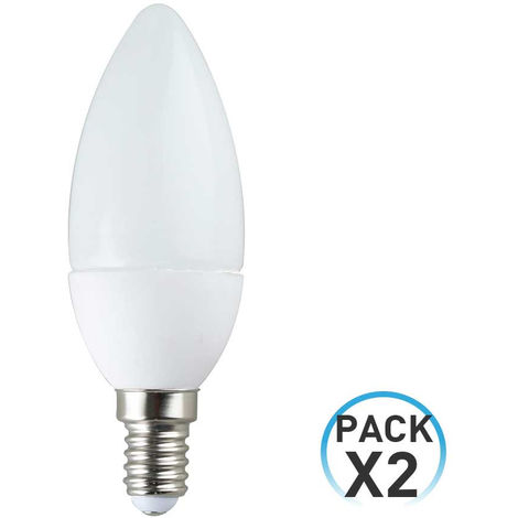 Pack 2 Bombillas LED Vela E14 6W Equi.40W 470lm 15000H