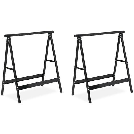 Pack 2 Caballetes para Mesa y Trabajos de Bricolaje Plegables, Acero, Negro, 75 cm de alto