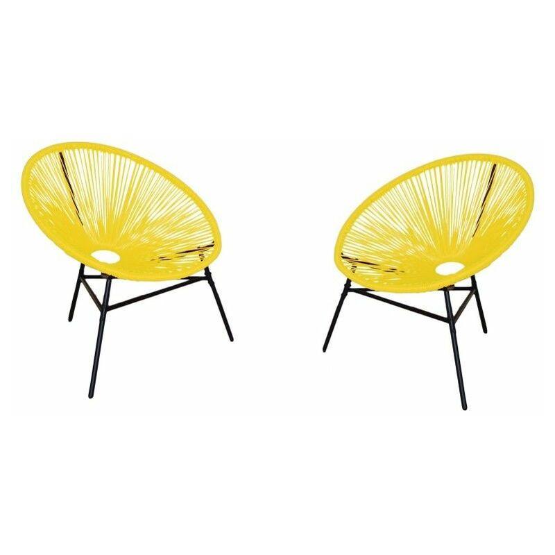 Ensemble de meubles de jardin et de terrasse Acapulco, 2 places, brun, rotin synthétique, chaises (80x76x85) - Kiefergarden