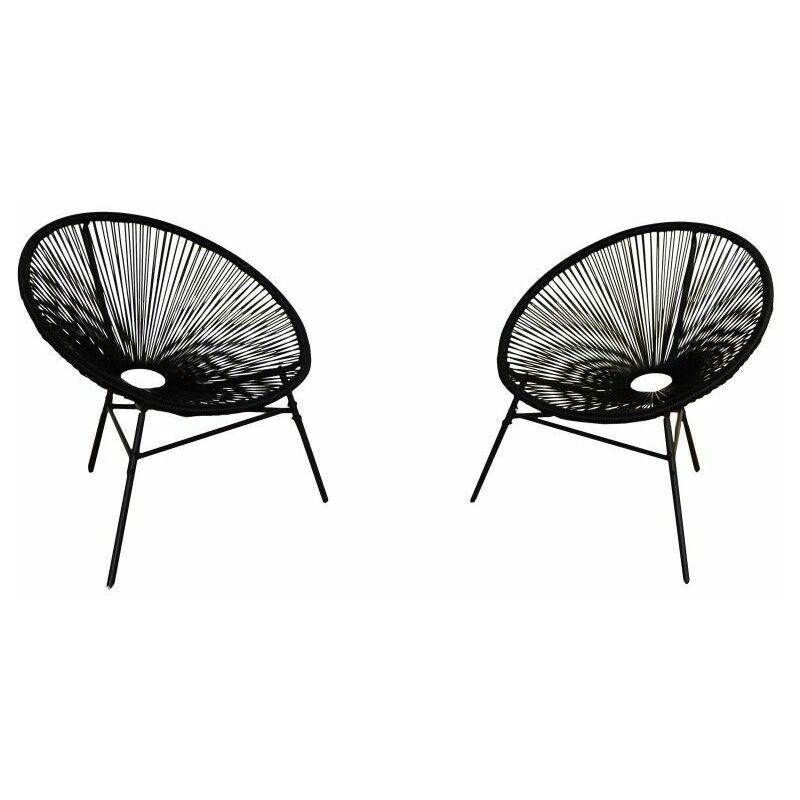 Ensemble de meubles de jardin et de terrasse Acapulco, 2 places, noir, rotin synthétique, chaises (80x76x85) - Kiefergarden