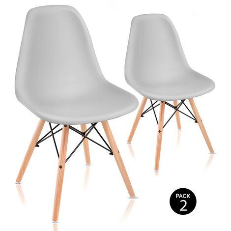 Pack 2 chaises de salle à manger design nordique salon terrasse chambre à coucher