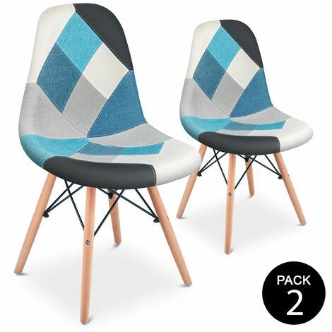 Pack 2 chaises de salle a manger design rembourrees patchwork multicolore