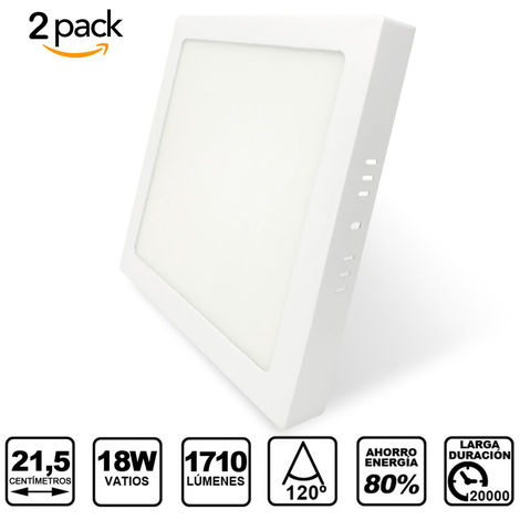 Pack 2 Downlight LED Cuadrado de Superficie Blanco 18W con 1710 Lm. 4500K Blanco Neutro