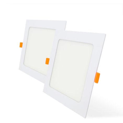 Pack 2 Downlight LED Cuadrado para Encastrar Blanco 12W con 1020 Lm. 6000K Blanco Frío