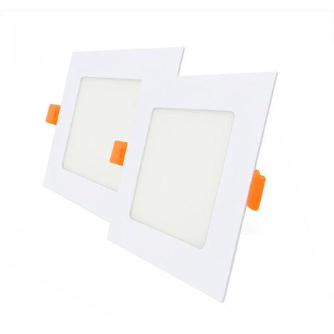 Pack 2 Downlight LED Cuadrado para Encastrar Blanco 6W con 570 Lm. 6000K Blanco Frío