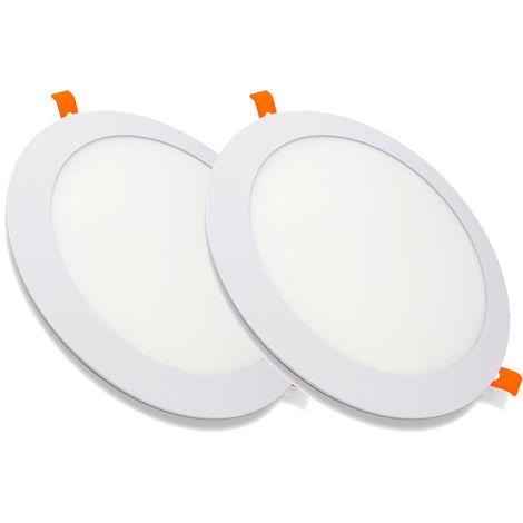 Pack 2 Downlight LED Redondo Extrafino Encastrar ECOMAX 20W 3000K Blanco Cálido
