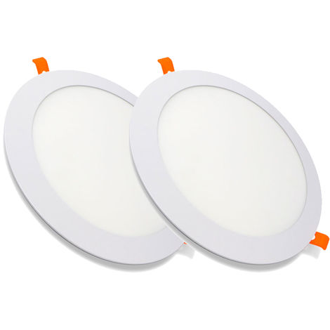 Pack 2 Downlight LED Redondo Extrafino Encastrar ECOMAX 20W 6000K Blanco Frío