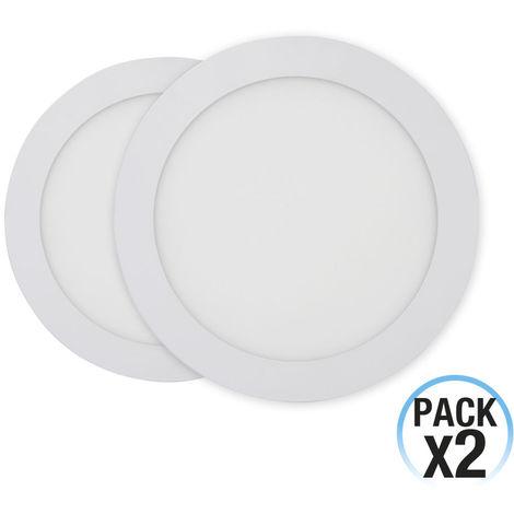 Pack 2 Downlight LED Ultraslim Empotrable Redondo 16W 1400lm Ø21cm
