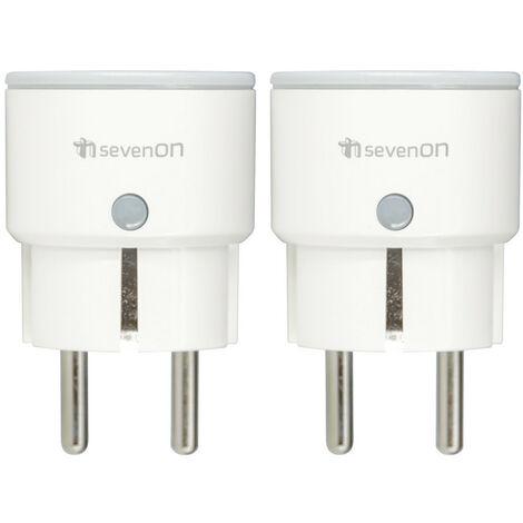 Pack 2 Enchufes Inteligentes WiFi Compacto control vía Smartphone/APP 7hSevenOn Home