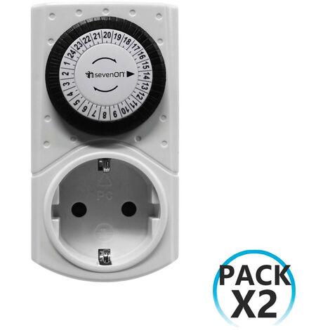 Pack 2 Enchufes Programadores Eléctricos Analógicos Blanco 7hSevenOn Home