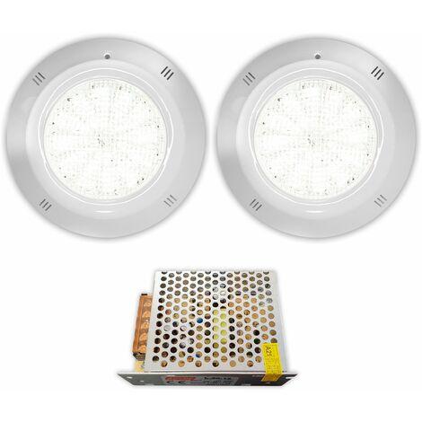 Pack 2 Focos 28W 2050 lumens LED de superficie Para Piscina Blanco Frío con tranformador