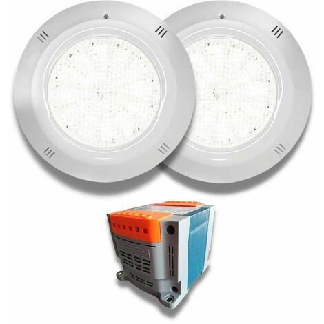 Pack 2 Focos Gama Basic LED Blanco 18W 12V AC/DC para piscina con Transformador