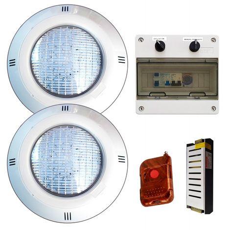 Pack 2 Focos LED 18W RGB ON/OFF + Transformador + Control remoto + Cuadro Electrico
