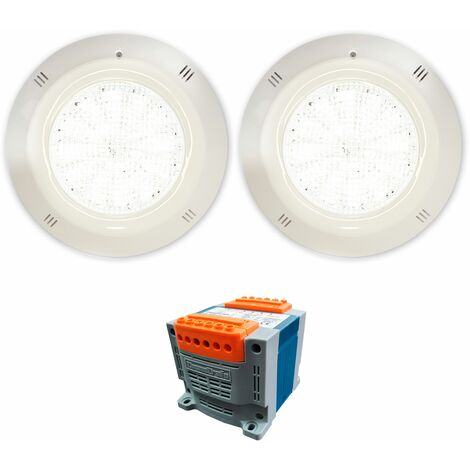 Pack 2 Focos LED Blanco 25W 12V AC/DC de superficie Gama Basic para piscina con Transformador