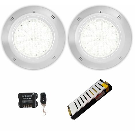Pack 2 Focos LED Blanco 25W 12V AC/DC de superficie Gama Basic para piscina con Transformador y Control Remoto