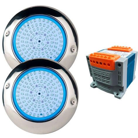 Pack 2 Focos LED de Superficie Blanco Para Piscina Ø15 15W Acero Marino con transformador