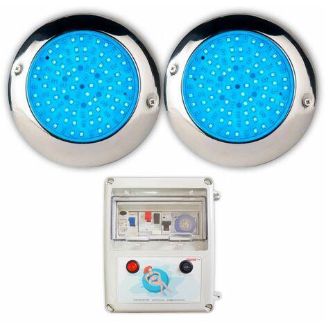 Pack 2 Focos LED de Superficie RGB Para Piscina Ø15 15W Acero Marino, con armario de maniobra completo
