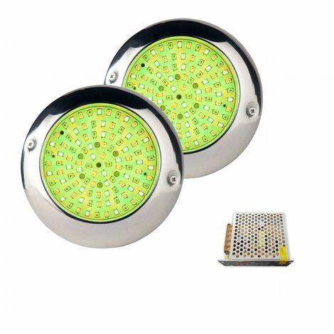 Pack 2 Focos LED RGB con cable de 4 hilos 15W Ø15cm en acero inoxidable marino AISI316L para Piscina con Transformador