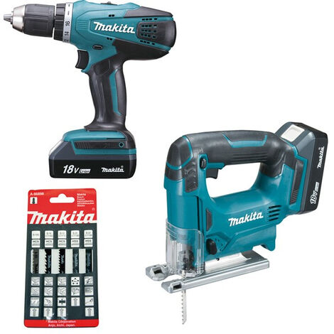 Pack 2 macchine Forma speciale MAKITA: Trapano avvitatore Ø 13 mm DF457D + Seghetto alternativo JV183D
