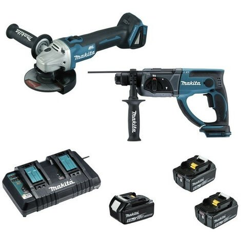 Pack 2 machines 18V 5Ah Li-Ion (Meuleuse DGA504 + Perforateur DHR202 + 3 batteries + MakPac) LOT0151 MAKITA