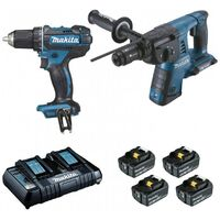 Pack 2 machines 18V 5Ah : Perforateur burineur DHR264 + perceuse visseuse DDF482 MAKITA DLX2138PTJ - -