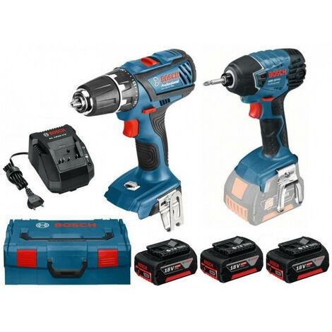 Pack 2 machines: GSR 18-2LI Plus + GDR 18 V-Li + 3 batt 4Ah 18V 0615990J5E BOSCH