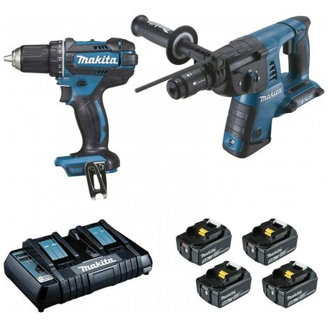 PACK 2 MACHINES MAKITA 18V 5AH : PERFORATEUR BURINEUR DHR264 + PERCEUSE VISSEUSE DDF482 DLX2138PTJ - -