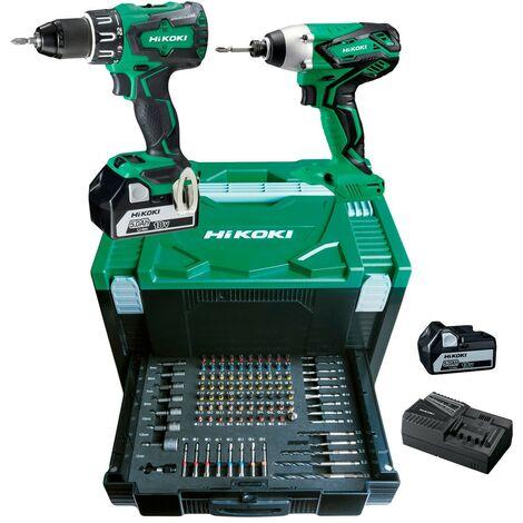 Pack 2 outils 18V 5Ah DV18DBSLWJZ + WH18DSALU4Z + 100 accessoires - KC18DBSL2Z - HIKOKI - KC18DBSL2BZ