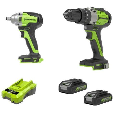 Pack 2 outils - GREENWORKS - 2 batteries 24V 2.0 Ah lithium-ion - 1 chargeur 24V