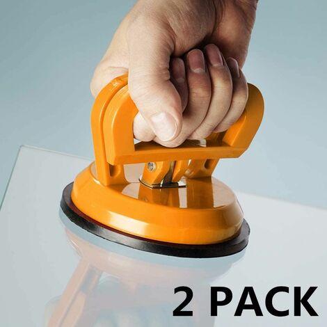 """PACK 2 PACK de lève-vitre à ventouse, traction automatique de 5 """", poussoir à vide pour le levage de verre / carrelage / miroir / granit, poignées de retrait de dent plaque d'aspiration, verrouillage à double poignée"""