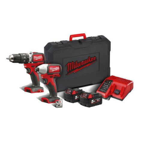 Pack 2 produits MILWAUKEE BRUSHLESS M18 BLPP2B-502C - 2 batteries 18V 5.0 Ah - 1 chargeur M12-18C 4933448451