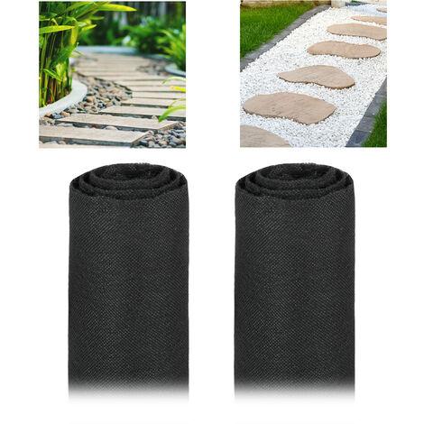 Pack 2 Rollos de Malla Antihierbas 17 g/m² Permeable y Resistente a los Rayos UV, Polipropileno, Negro, 30 m
