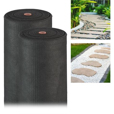Pack 2 Rollos de Malla Antihierbas 50 g/m² Permeable y Resistente a los Rayos UV, Polipropileno, Negro, 100 m