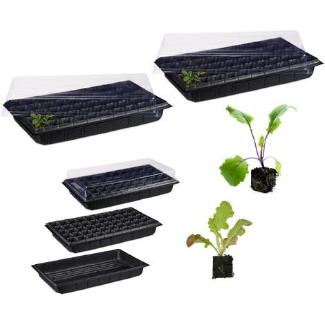 Pack 2 Semilleros de Germinación con 50 Compartimentos para Terraza, Jardín e Interior, Negro, 55,5 x 29 cm