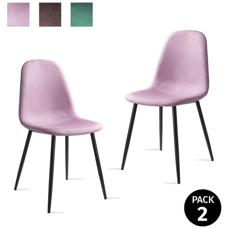 Pack 2 sillas comedor oficina salon tapizada patas metalicas estilo retro