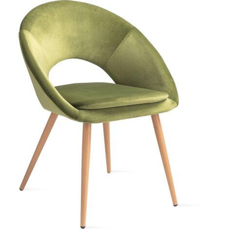 Pack 2 sillas comedor oficina salon verde terciopelo vintage asiento acolchado