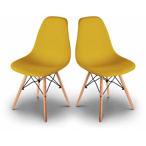 Pack 2 sillas de comedor, silla tower, sillas para salon, comedor, oficina, dormitorio o terraza, silla de escritorio, sillas tower basic, silla ergonomica con patas de madera, estilo escandinavo