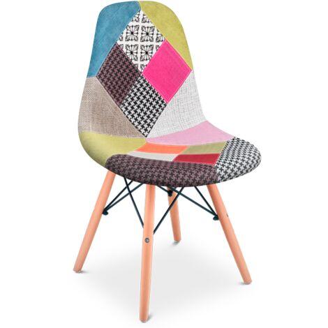 Pack 2 Sillas de diseño tapizado Patchwork multicolor -McHaus
