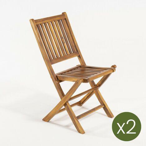 """main image of """"Pack 2 sillas jardín teca plegables   Madera teca grado A   Tamaño: 51x55x90 cm   Tratamiento al agua aplicado   Portes gratis"""""""