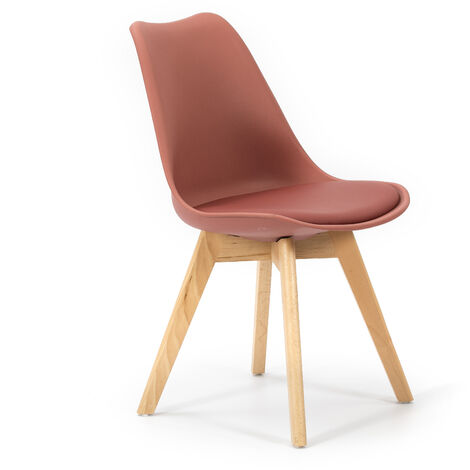 Pack 2 sillas Klara Rojo Teja, Pata Madera y Asiento Acolchado, Estilo nórdico